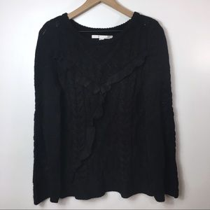 Lauren Conrad Black Cable Knot Sweater with Ruffle